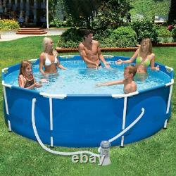 10' x 30 Metal Frame Round Above Ground Swimming Pool with Filter for Garden