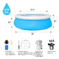 10ft X 30in Above Ground Swimming Pool Inflatable Outdoor With Pump and Filter