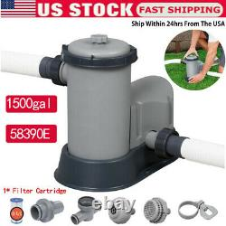 1500 GPH Filter Pump for Above Ground Swimming Pool 58390E+1Filter Cartridge US