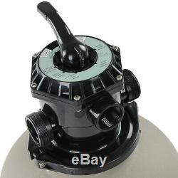 16 in Clear Sand Filter Pump Above Ground Swimming Pool, 6-way Valve 1/2 H Tank