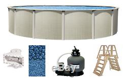 Above Ground 18'x48 Round Impressions Swimming Pool with Liner, Ladder & Filter