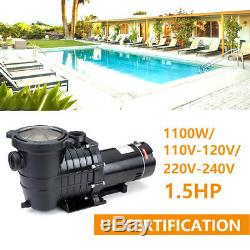 Above Ground 1/1.5/2.5HP Swimming Pool Water Filter Pump 110-240V Motor Portable