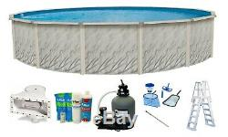 Above Ground Meadows Round Swimming Pool with Liner, Ladder, & Sand Filter System