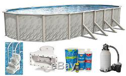 Above Ground Oval Meadows Swimming Pool with Liner, Sand Filter & Step Kit