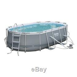Above Ground Swimming Pool Set Steel Frame Oval with Ladder Filter Pump Family Fun