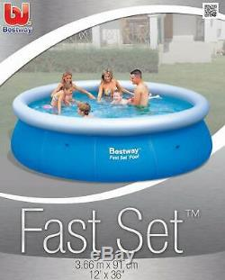 Bestway 12' x 36 Fast Set Inflatable Above Ground Pool withFilter Pump (Open Box)
