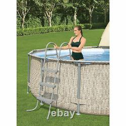 Bestway 13' x 42 Power Steel Frame Above Ground Swimming Pool Set with Canopy