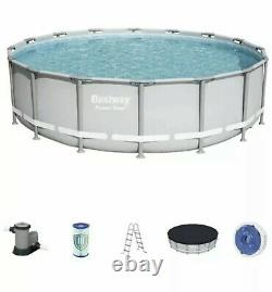 Bestway 16 x 48 Power Steel Frame Above Ground Pool Set with Pump, Ladder, Cover