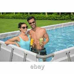 Bestway 21 Ft x 9 Ft x 52 In Power Steel Frame Above Ground Swimming Pool Set