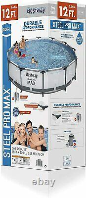 Bestway Frame Steel Pro MAX Above Ground Pool Set 12 Ft x 30 with Filter Pump