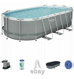 Bestway Power Steel 18' x 9 x 48 Above Ground Pool Set with Pump, Cover, Ladder