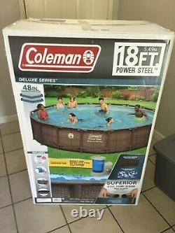 Coleman 18 x 48 Deluxe Power Steel Frame Round Above Ground Pool Set NEW
