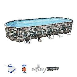 Coleman 26 x 12 x 52 Power Steel Oval Above Ground Pool Set with WiFi Pump