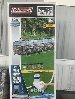 Coleman 26x12x52in Power Steel Oval Above Ground Pool with WiFi Pump IN HAND