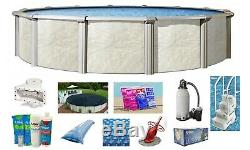 FALLSTON Above Ground Steel Wall Swimming Pool with Liner Step Filter Package
