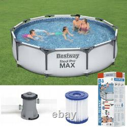 GARDEN SWIMMING POOL 366 cm 12FT Round Frame Above Ground Pool with PUMP SET