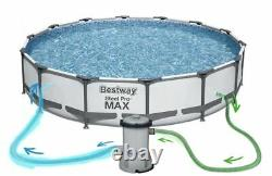 GARDEN SWIMMING POOL 427 cm 14FT Round Frame Above Ground Pool with PUMP SET