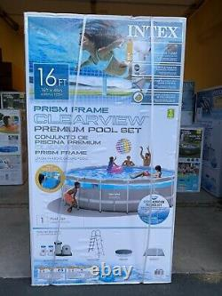 INTEX 26729EH 16ft x 48in Clearview Prism Above Ground Swimming Pool SET