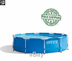 Intex 10' x 30 Metal Frame Above Ground Swimming Pool with Filter Pump NEW