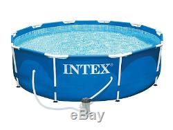 Intex 10' x 30 Metal Frame Round Above Ground Swimming Pool with Filter Pump Blue