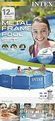 Intex 12' x 30 Metal Frame Above Ground Pool withFilter Pump Brand New Ships Fast