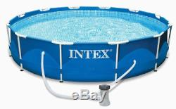 Intex 12' x 30 Metal Frame Above Ground Pool with Filter Pump NEW SHIPS NOW