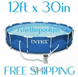 Intex 12' x 30 Metal Frame Round Above Ground Swimming Pool with Pump