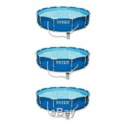 Intex 12' x 30 Metal Frame Set Above Ground Swimming Pool with Filter (3 Pack)
