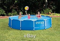 Intex 12' x 30 Metal Frame Set Above Ground Swimming Pool with Filter & Cover