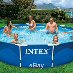 Intex 12ft x 30in Metal Frame Set Above Ground Swimming Pool & Filter (2 Pack)