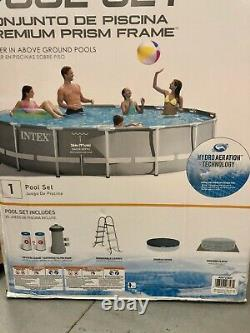 Intex 15ft x 42in Prism Frame Above Ground Swimming Pool Set with Filter Pump NEW