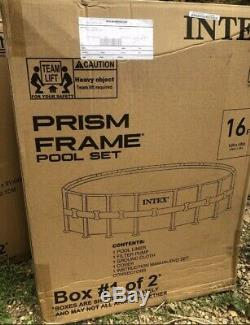 Intex 16' X 48 Prism Frame Above Ground Pool Comes With Ladder, Filter Pump