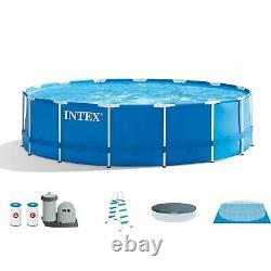 Intex 18ft x 48in Metal Frame Above Ground Pool Set withFilter & Pump (2 Pack)