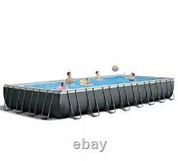 Intex 24Ft X 12Ft X 52In Ultra Frame Rectangular Above Ground Pool Set with Sand