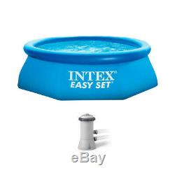 Intex 8ft x 30in Easy Set Inflatable Above Ground Polygonal Pool with Filter Pump
