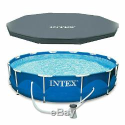 Intex Metal Frame Set Above Ground Swimming Pool+Filter Pump+Deluxe Cover