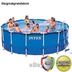 Intex Pool Set 15ft X 48in Metal Frame Filter Pump Above Ground Round Swimming
