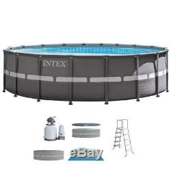 Intex Round Frame Above Ground Swimming Pool Set & Sand Filter Pump 18X52