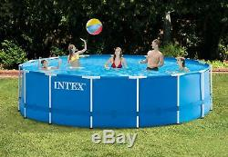 Intex Swimming Pool Set 15' x 48 Steel Frame Above Ground with Filter Pump Ladder