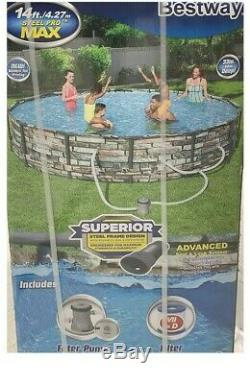 NEW Bestway Steel Pro MAX 14ft x 33in Above Ground Swimming Pool Set Pump Filter