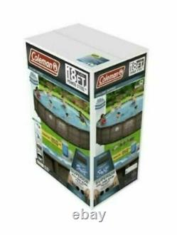 NEW COLEMAN POWER STEEL 18' x 48 Round Above Ground Swimming Pool Deluxe Set
