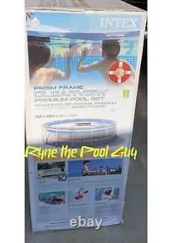 NEW Intex 16ft x 48in Clearview Prism Frame Above Ground Swimming Pool