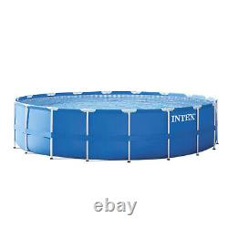 NEW Intex 18ft x 48in Frame Above Ground Swimming Pool with Pump, Ladder, & Cover