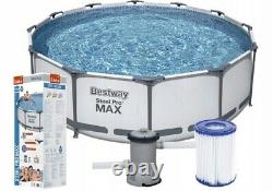 Round Frame SWIMMING POOL 366 x 100 12FT Garden Above Ground Pool with PUMP SET