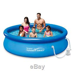 Summer Waves 10'x30Quick Set Inflatable Ring Above Ground Pool with Filter Pump