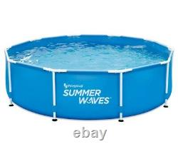 Summer Waves 10ft Active Frame Above Ground Outdoor Swimming Pool with Filter