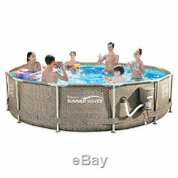 Summer Waves 12ft Above Ground Metal Prism Frame Swimming Pool with Filter Pump
