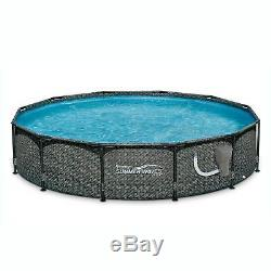 Summer Waves 12ft x 33in Round Above Ground Outdoor Frame Pool with Filter Pump