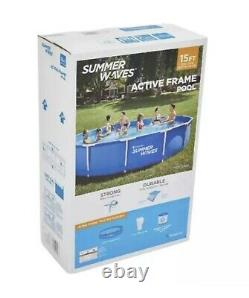 Summer Waves 15 FT Active Metal Frame Above Ground Swimming Pool W Filter Pump