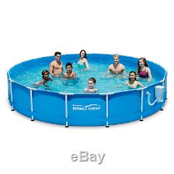 Summer Waves 15' x 33 Metal Frame Above Ground Swimming Pool with Filter Pump S